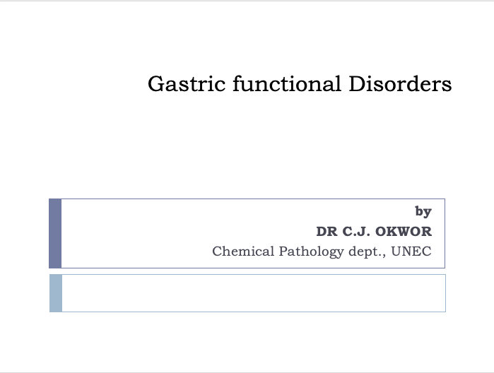 GASTRIC FUNCTIONAL DISORDERS