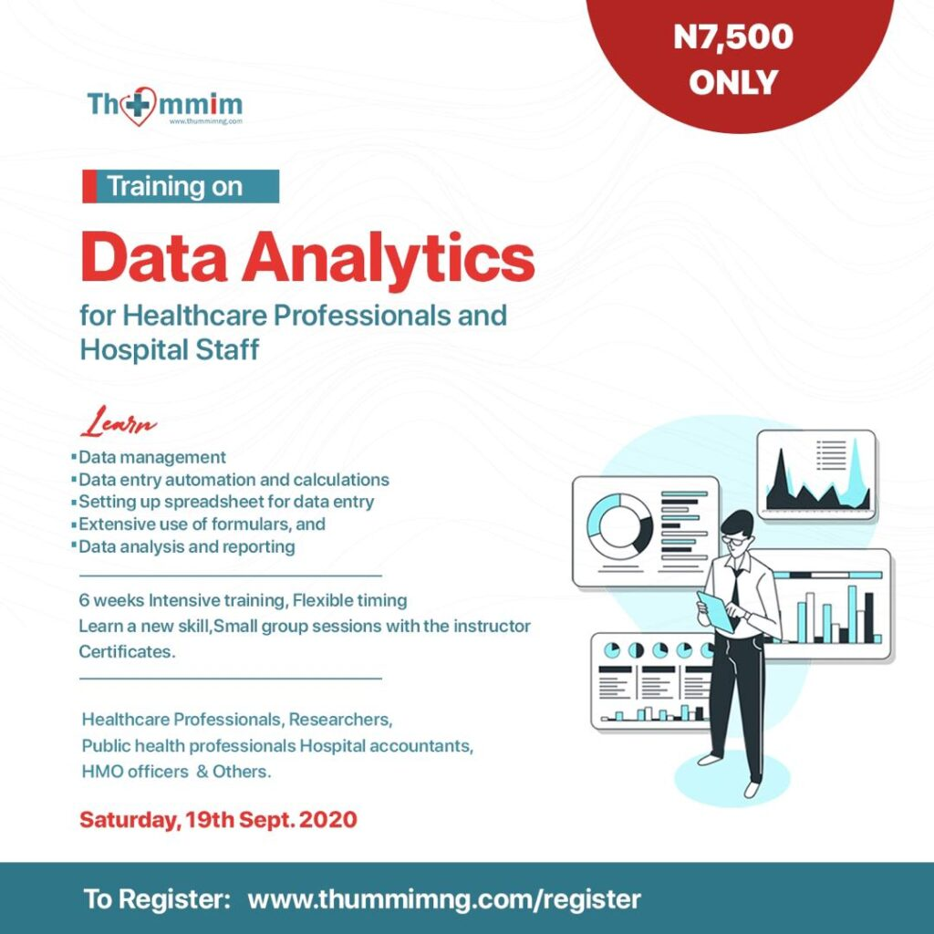 Data analysis using Excel for Healthcare Professionals & Hospital Staff